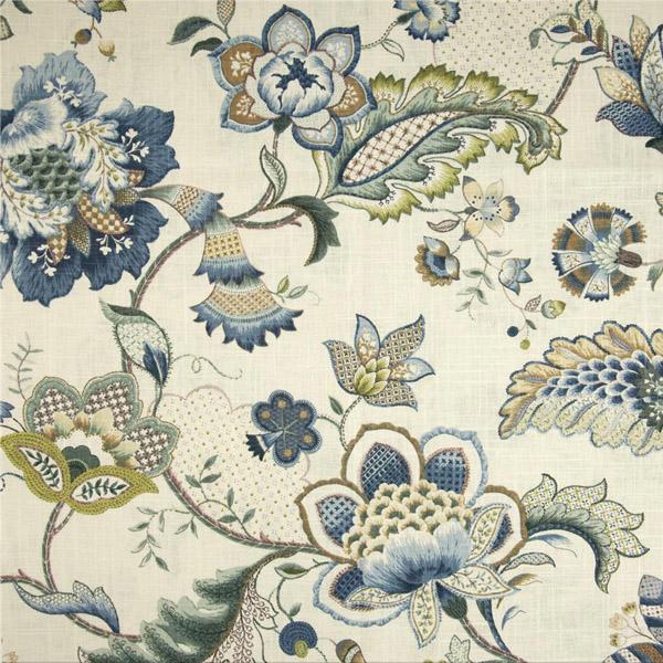 Ophelia Iris Blue Floral Linen Blend Drapery Fabric 53111 Buy