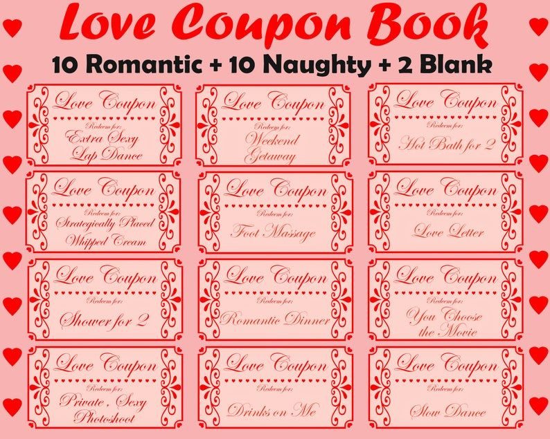 Love Coupon Book Printable Love Coupons Romantic Coupon Book Naughty Coupon Book Valentines Coupons Printable Coupons Anniversary Gift Love Coupons Naughty Coupon Book Love Coupons For Him