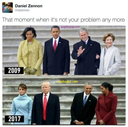 Funny Memes That Moment It S Not Your Problem Any More Ft Bush Obama And Trump Funny Funny Pictures Funny Quotes