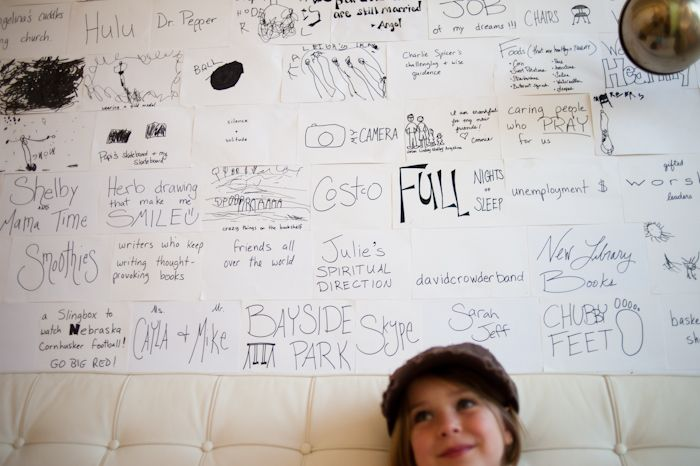 index cards on the wall..  of what you're grateful for. <3
