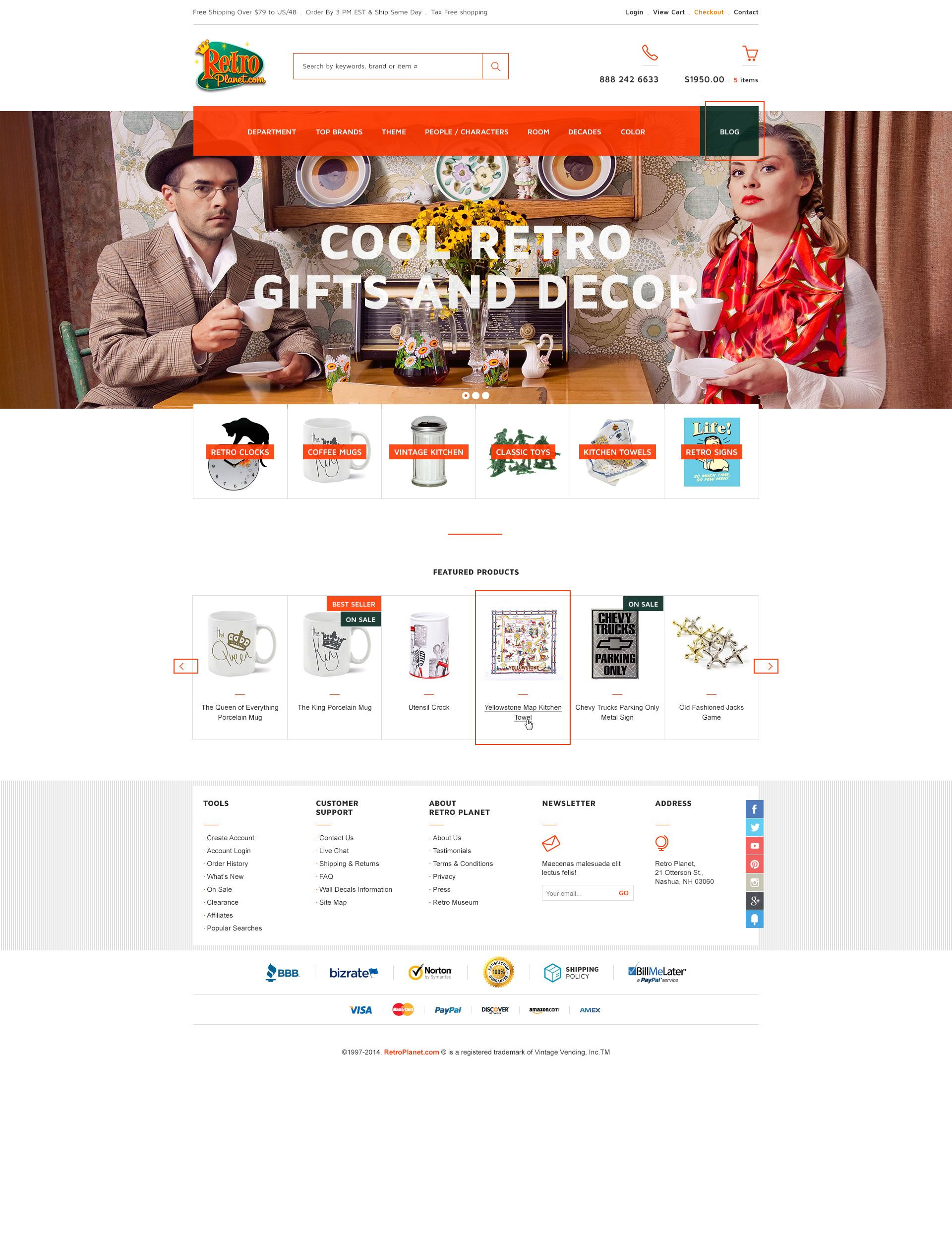 RetroPlanet.com - Home Page Mockup - Miva Merchant eCommerce Design / Customization