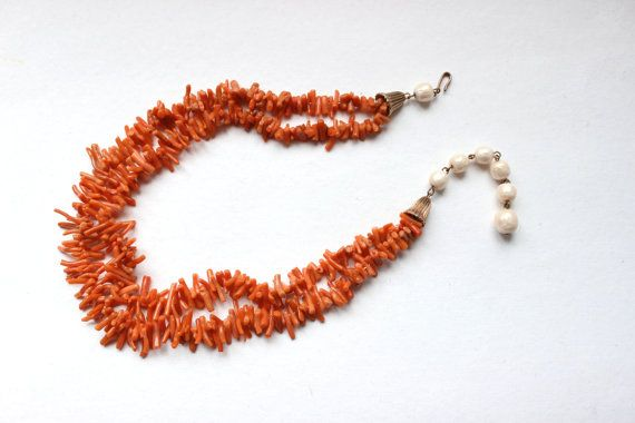 50s 60s Genuine Italian salmon red coral multistrand by Oselavy
