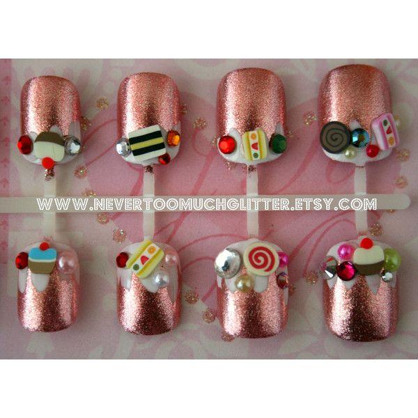 Kawaii Sweets Japanese 3D Nail Art- Candyland Sweets Fake Nails for ...