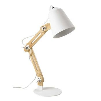 SWEDEN wood and white metal desk lamp H 64cm