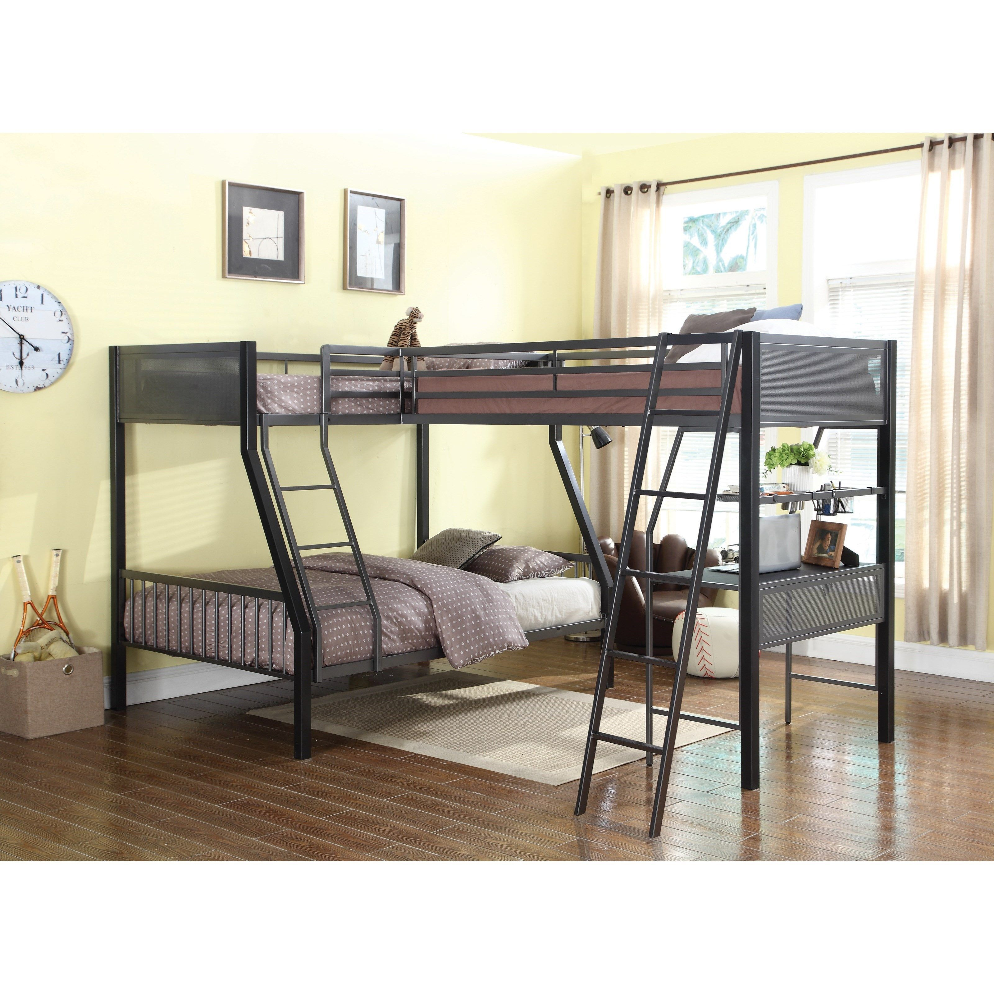 Bunks Twin Over Full Bunk Bed With Loft By Coaster