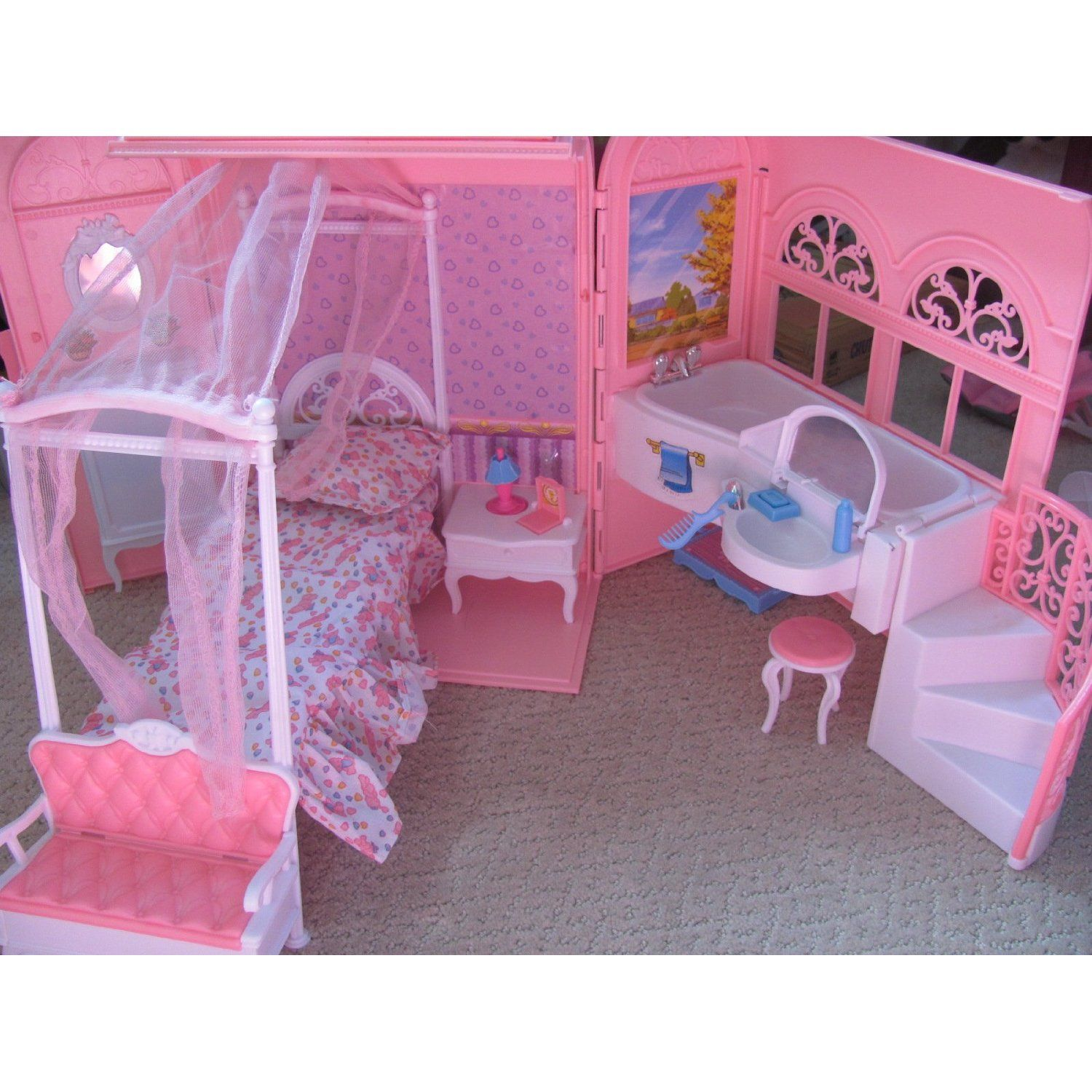 Amazon Barbie Size Dollhouse Furniture Bed & Bath Room in a