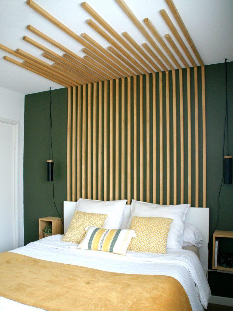 Chambre parentale, tête de lit originale en tasseaux de bois DIY