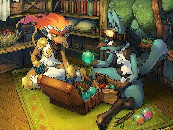 Infernape, Lucario, orbs, stones, outfits; Pokémon