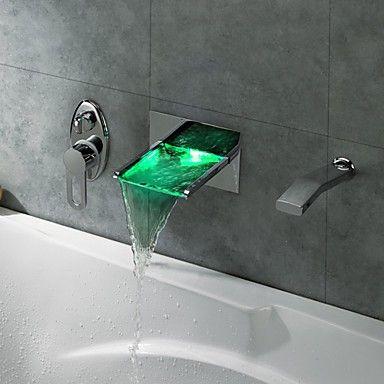 Ensemble robinet douche mitigeur  cascade avec LED