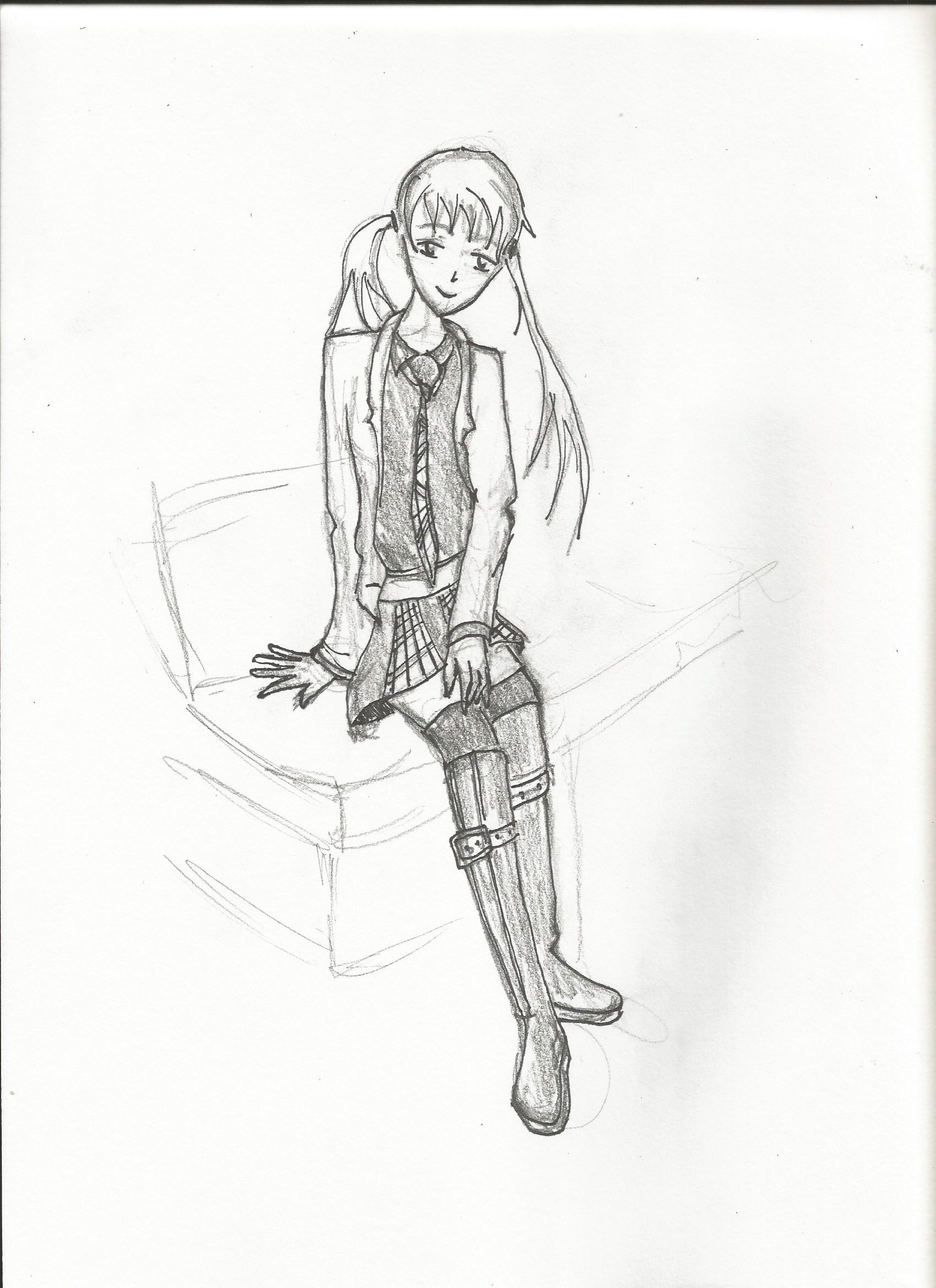 Manga girl sitting Pencil and Paper