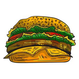 Cheeseburger Cartoon Graphic Design Typography Graphic Image Background Design