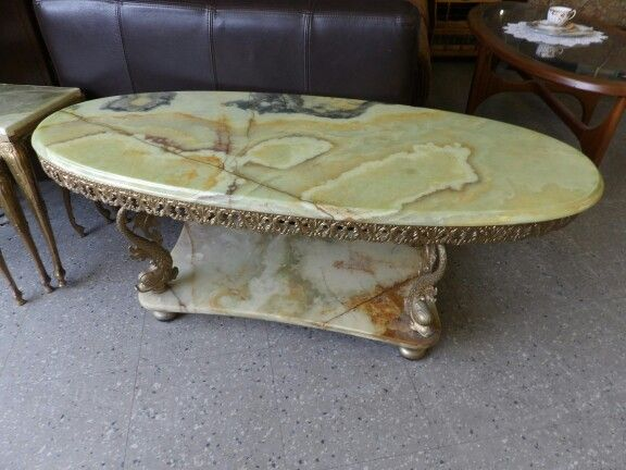 Oval Marble Coffee Table with Lower Marble Shelf Good Condition