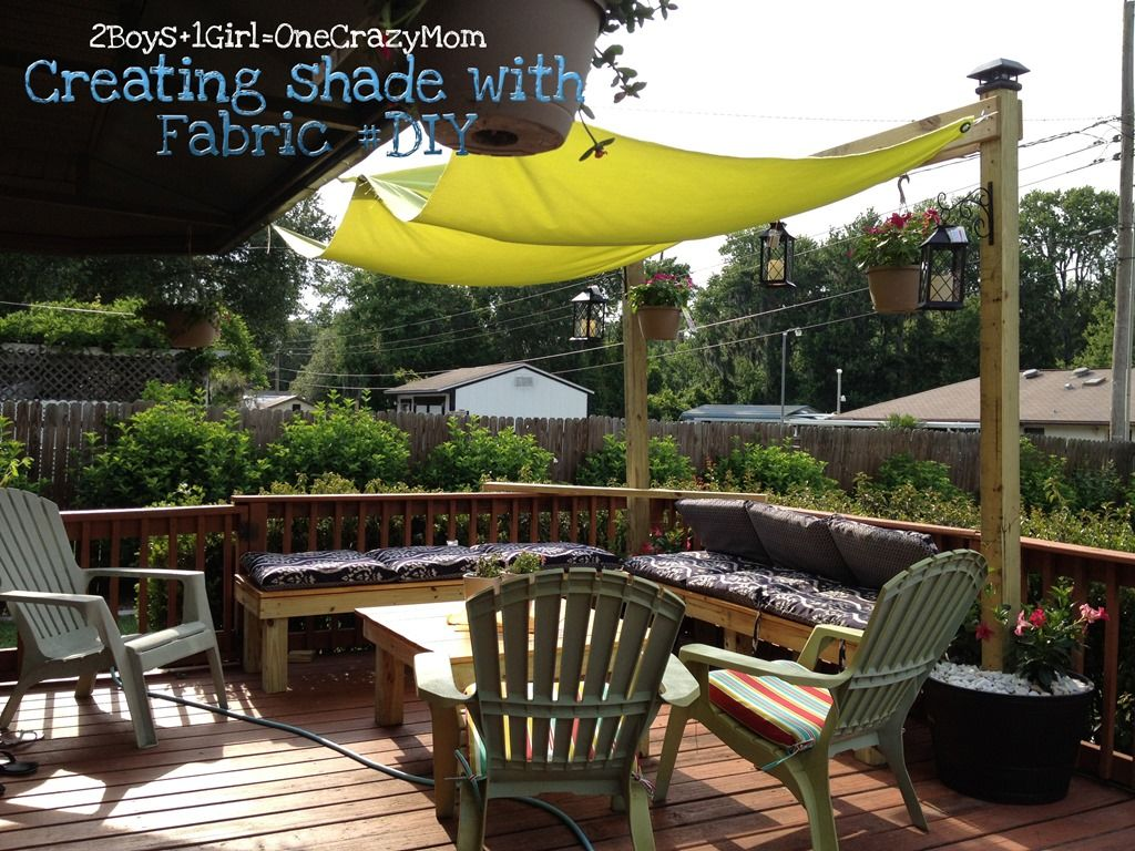 Diy outdoor shade sail with 2 posts inside barrel pot for Small patio shade ideas