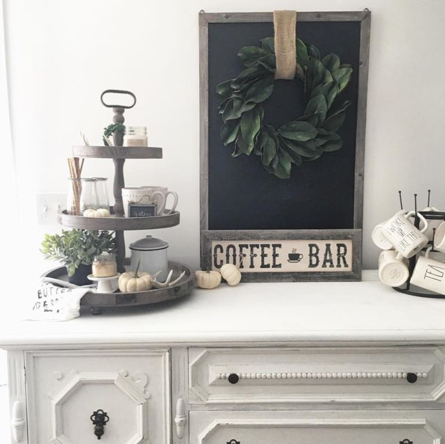 No Farmhouse Coffee Bar Is Complete Without A 3 Tier Tray A Rae Dunn Mug Rack And A Yummy Antique Candle Works Candle Candles Works Antique Candles Decor