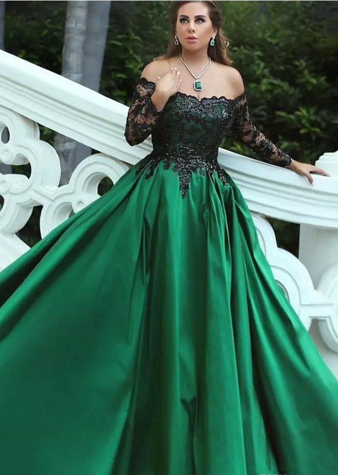 5be3ebbad9f Dark Green Satin Plus Size Evening Dresses Off Shoulder Long Sleeves  Sequins Lace Saudi Arabic Ball Gown Prom Dress Vestidos De Fiesta