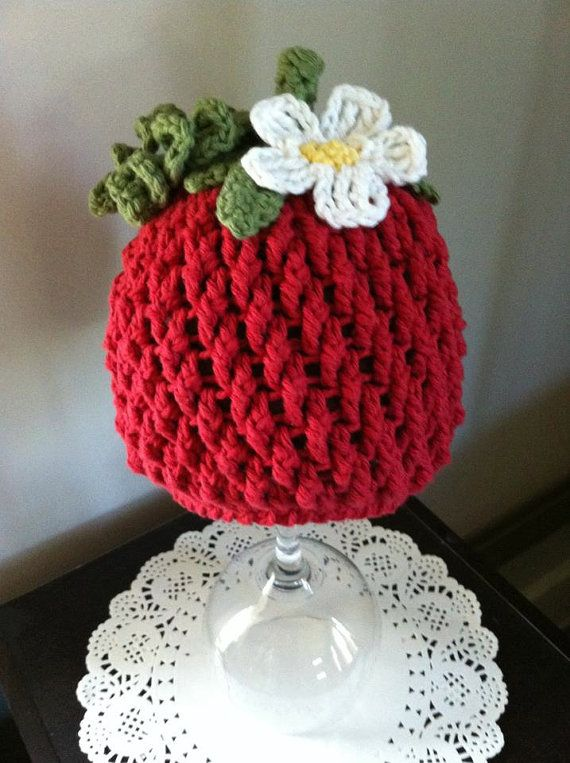 9a476b1c6b0 Crochet Pattern for Berrylicious Strawberry Beanie Hat - 6 sizes ...