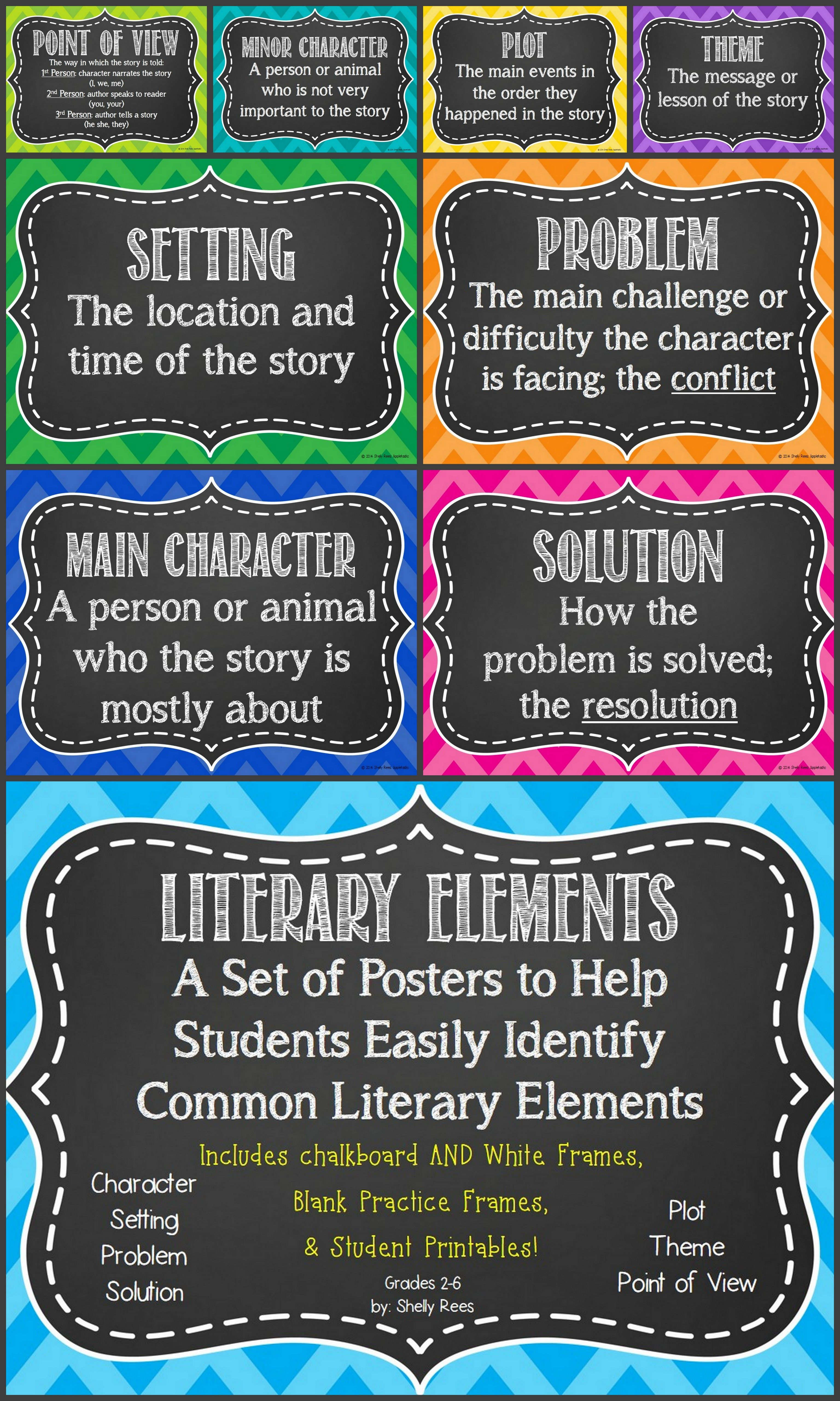 Literary Elements Poster Set - Fun Chevron Colors with Choice of Chalkboard  or White Background! Includes…   Reading classroom [ 5120 x 3072 Pixel ]