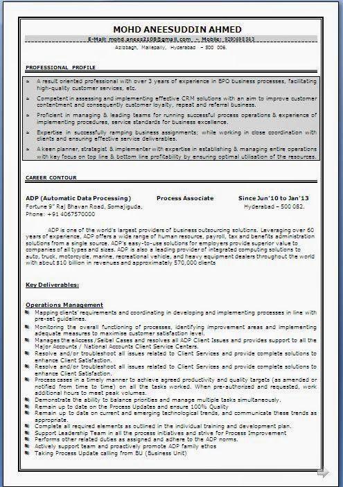 Resume+Format+(100) Potrait Pinterest Resume tips, Sample - resume for call center
