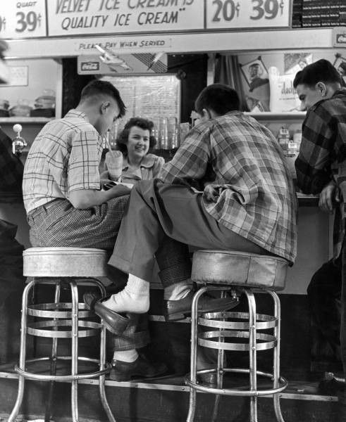 Teenagers at the icecream shop, 1950s