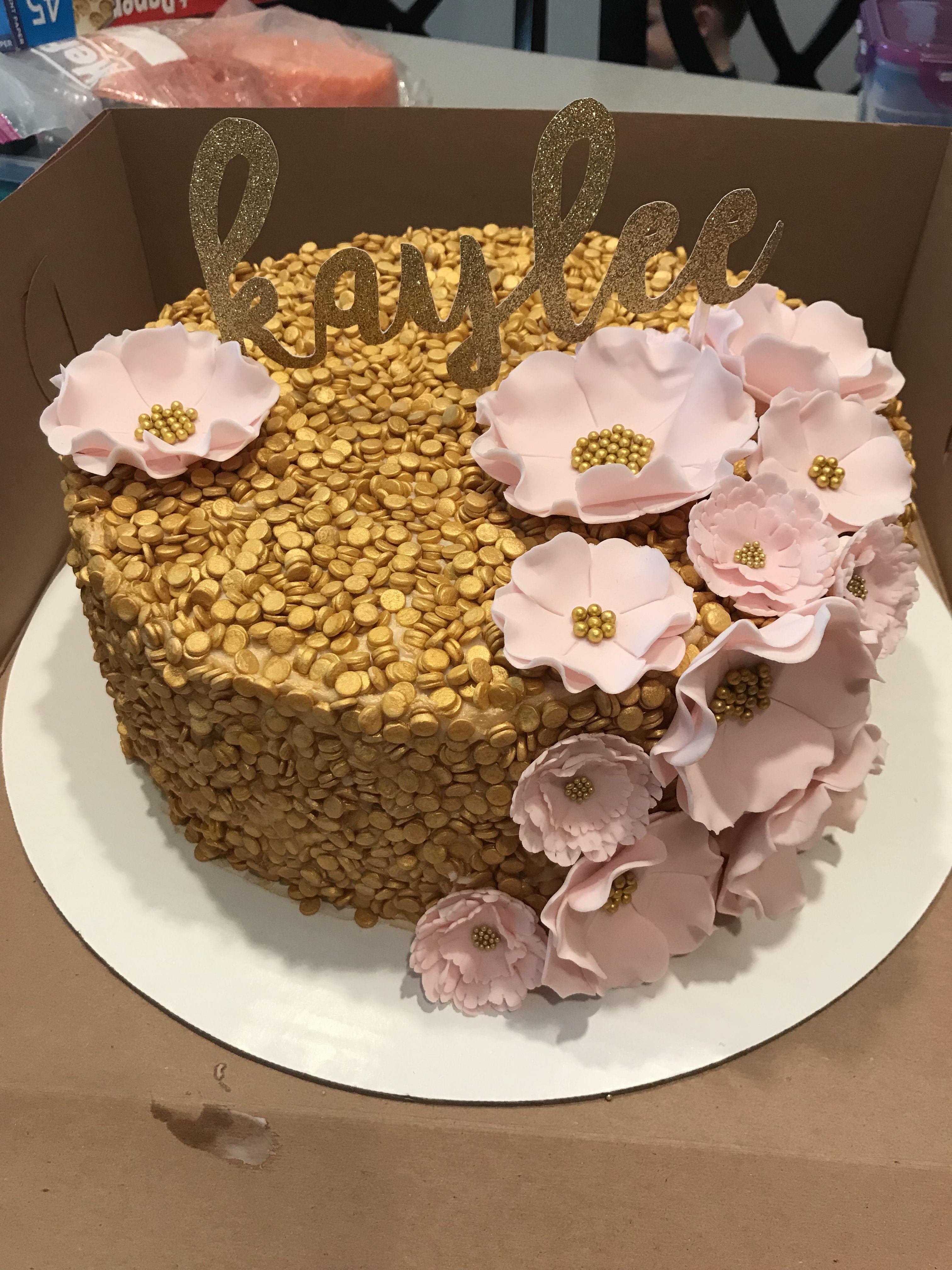 Gold Confetti Cake Pink Fondant Flowers Lori Emilys Cakes