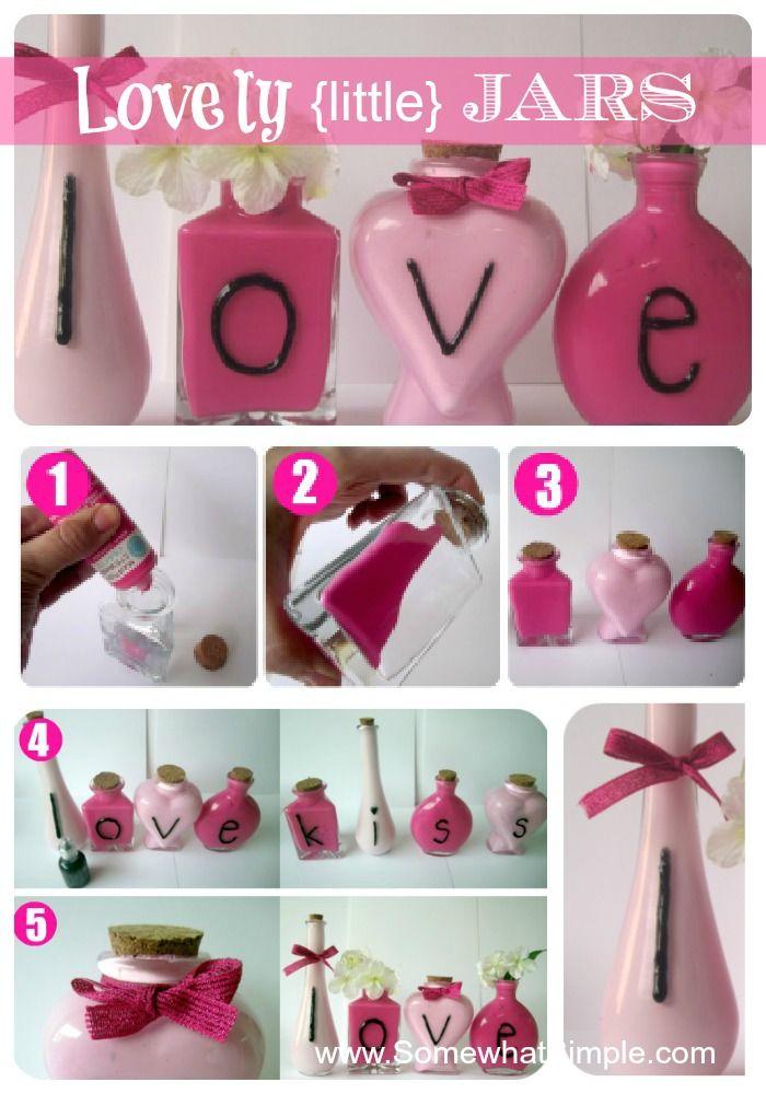 Schöne kleine bemalte Einmachgläser   – Holidays – Valentines Day DIY