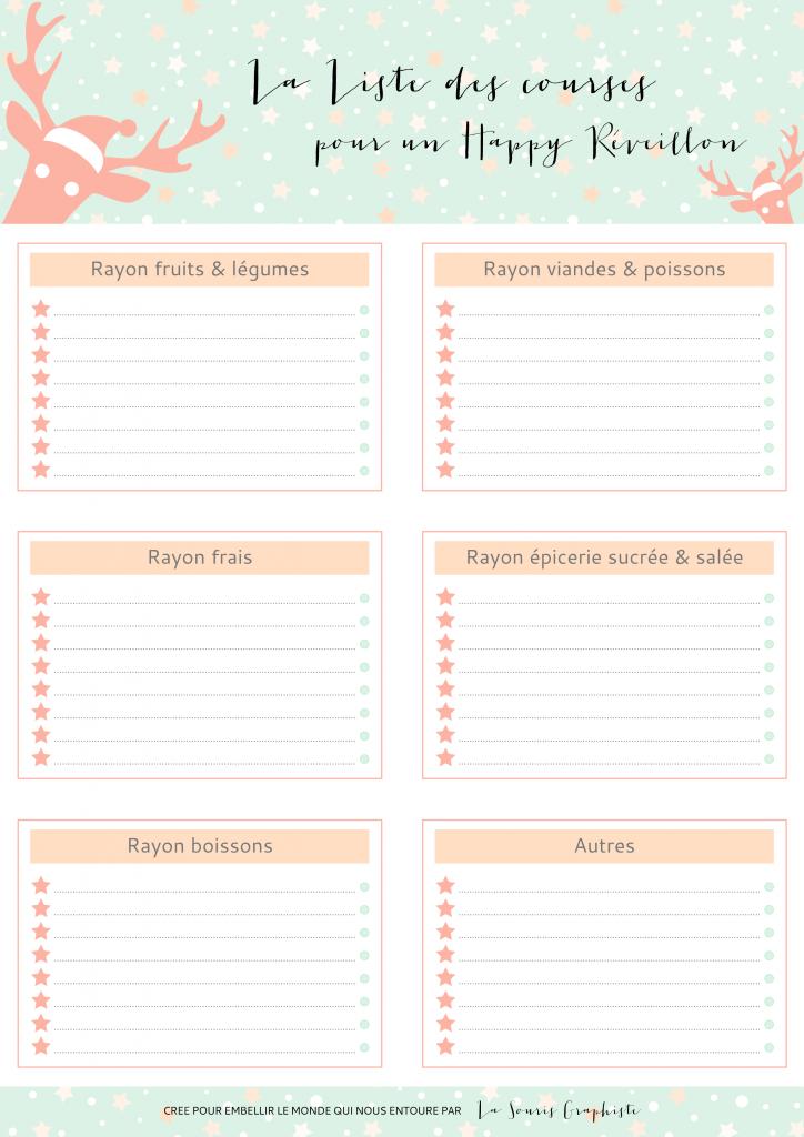 Menu Reveillon De Noel.Liste De Courses Pour Le Reveillon De Noel A Imprimer