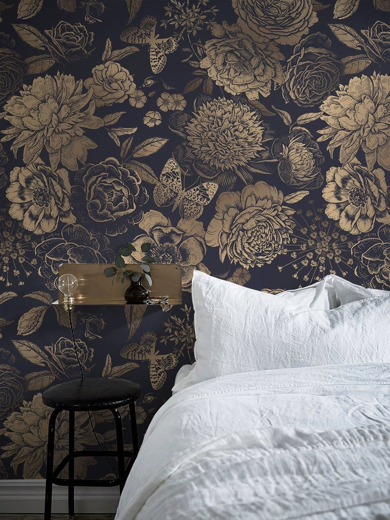 Removable Wallpaper Peel And Stick Wallpaper Wall Paper Wall Etsy In 2021 Black Wallpaper Bedroom Black Wallpaper Living Room Gold Wallpaper Bedroom