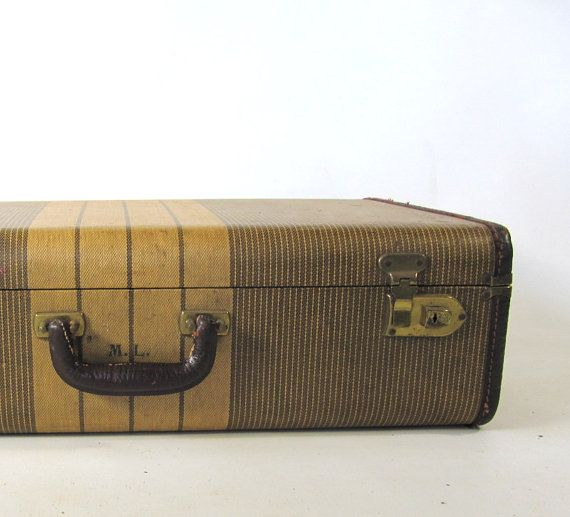 Shabby+Chic+Luggage+Stripped+Suitcase+Brown+by+oldgoatandhorse,+$45.00