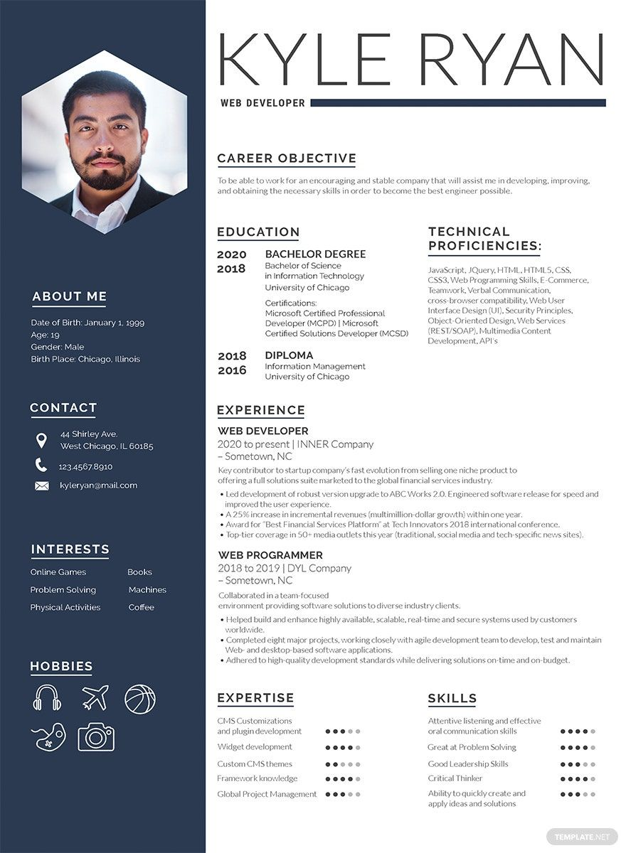 Web Developer Resume Template Free Psd Word Apple Pages Template Net Free Resume Template Download Web Developer Resume Creative Resume Template Free