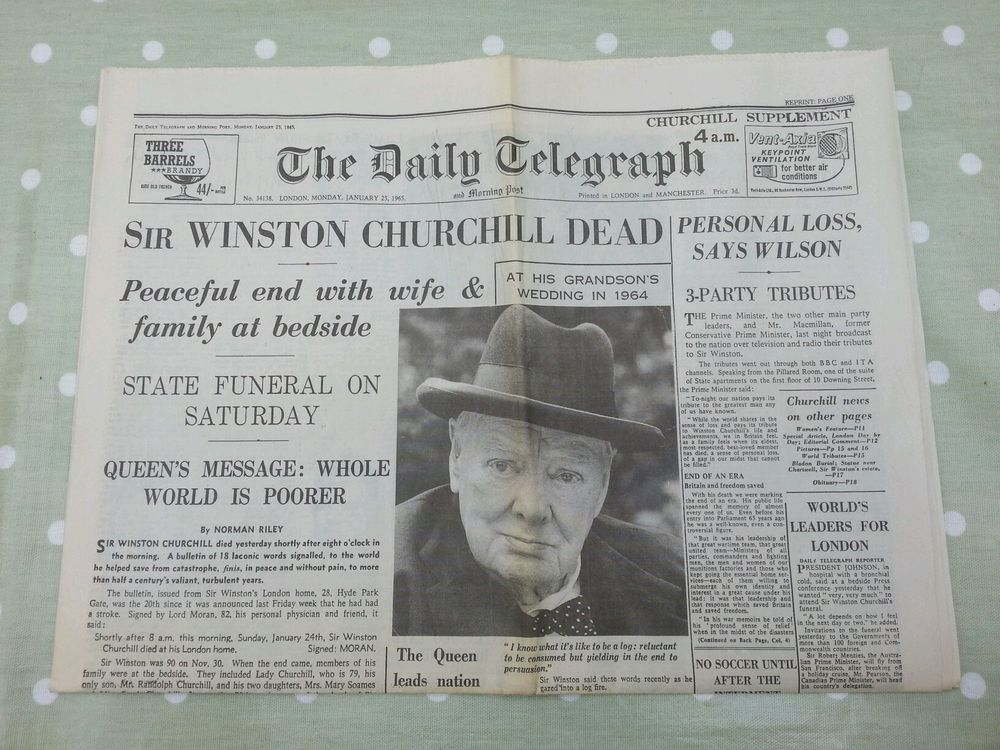 VINTAGE DAILY TELEGRAPH NEWSPAPER. REPRINT. WINSTON