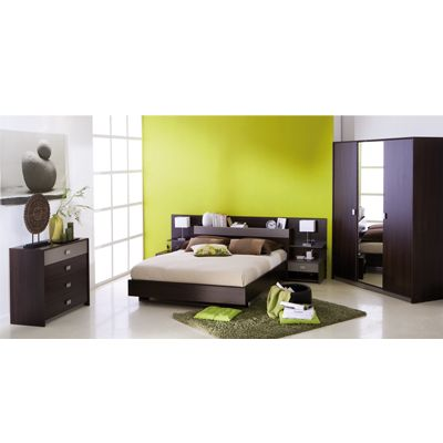 pack chambre dune comprenant un lit sans sommier sans matelas avec son environnement t te de. Black Bedroom Furniture Sets. Home Design Ideas