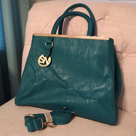 Stephanie Nicole Handbag Teal color with gold details Bags Shoulder Bags