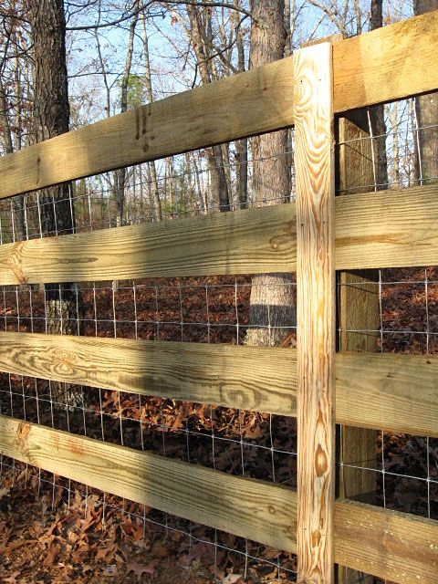 4x4 Sheep Wire Fence Attached To 4 Board Fence Farm Fence Wood Fence Backyard Fences