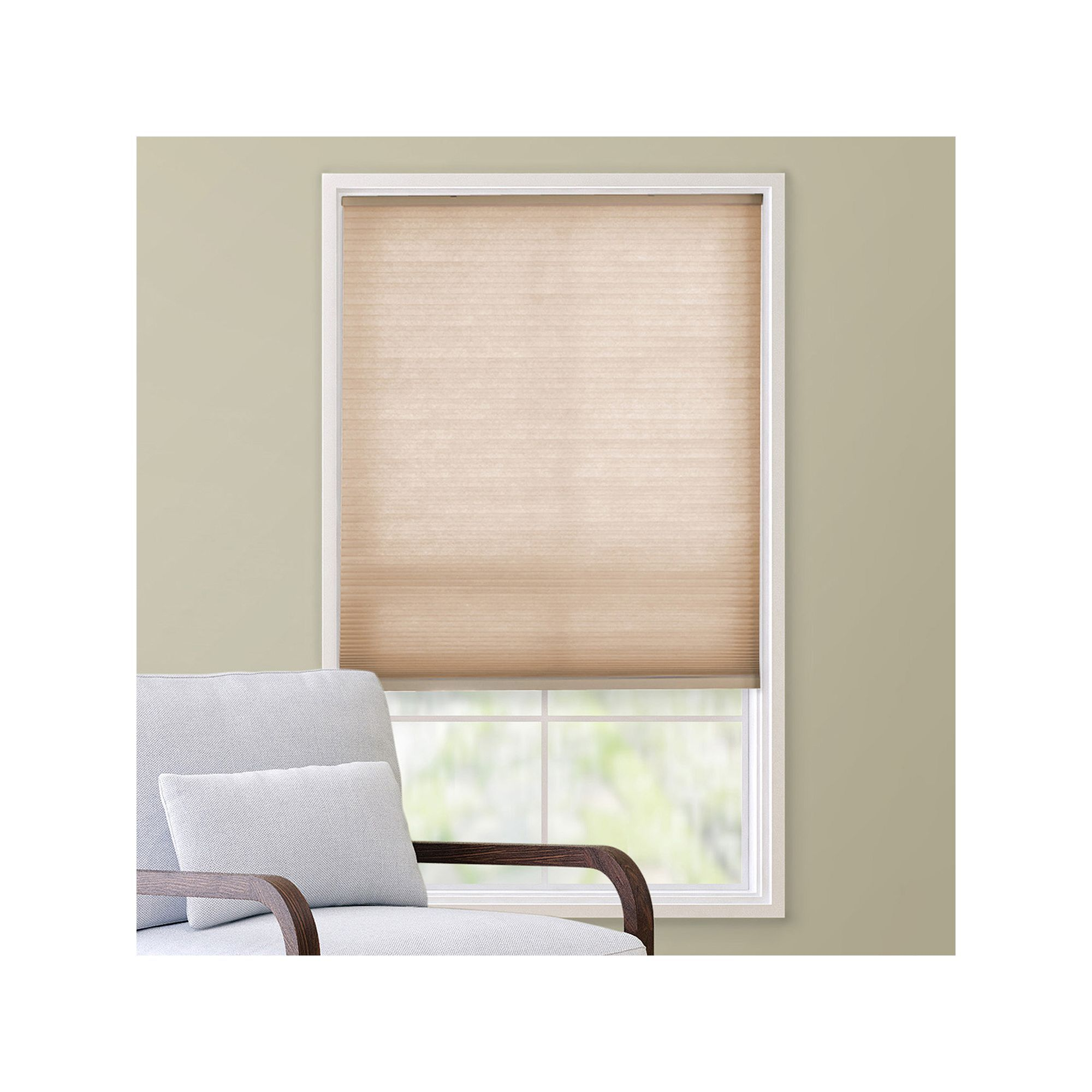 Outside window treatment ideas  custom cut to order cordless cellular shade  uu length white