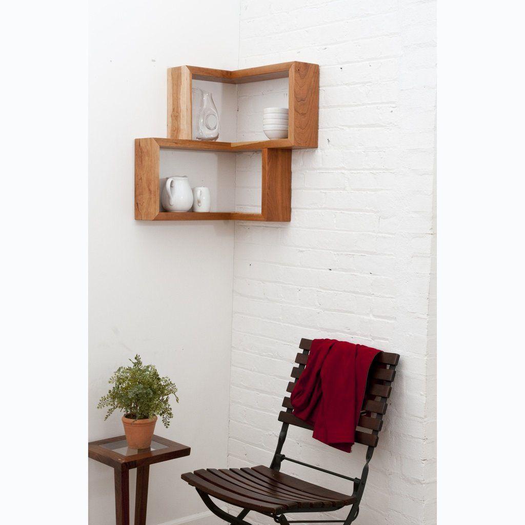 Franklin Shelf Solid Wood Corner Shelf With Images Wood Corner Shelves Home Decor Affordable Home Decor