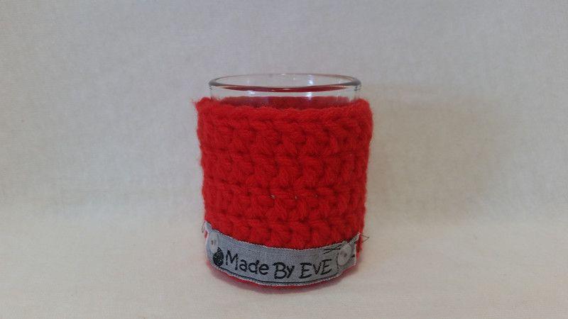 Teelichthalter - Teelichthalter S gehäkelt rot 5 cm - ein Designerstück von EvE-Paris bei DaWanda