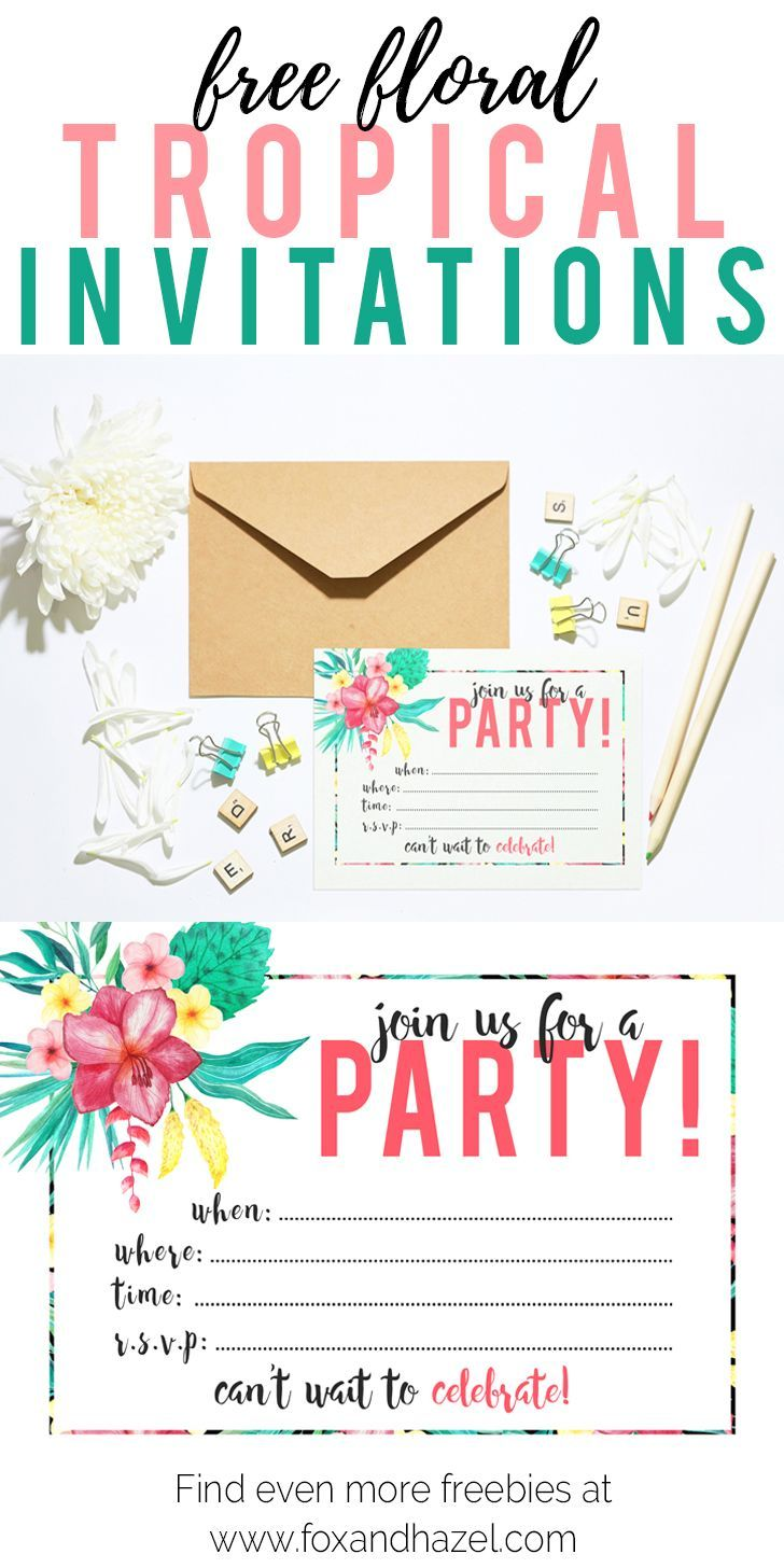 free printable tropical party invitation