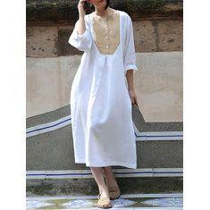 ba18ea2e98c0 Half Sleeve Stripe V-neck Loose Baggy Long Shirt Maxi Dress - Banggood  Mobile. Women Sexy Patchwork ...
