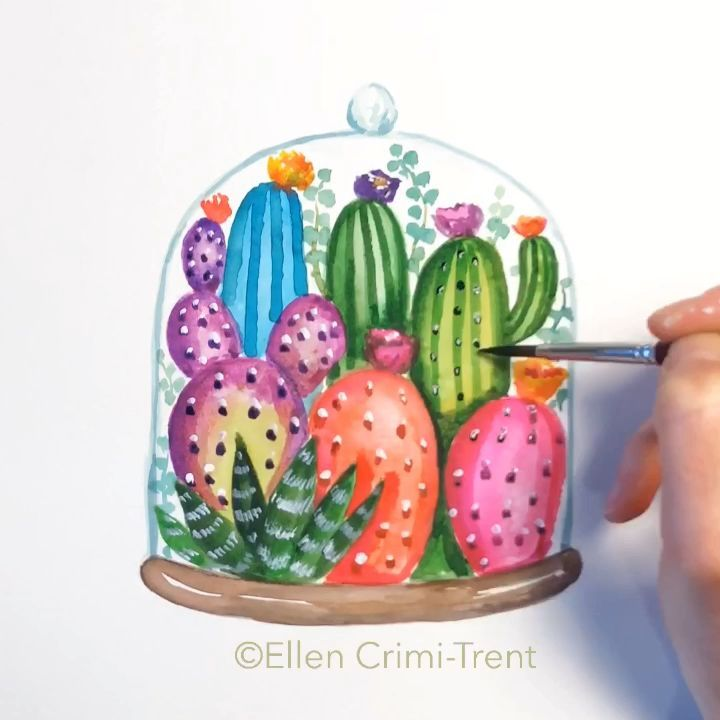 A fun watercolor painting Informations About Cactus Terrarium Pin You can easily use my profile to examine different pin types Cactus Terrarium pins are as aesthetic and...