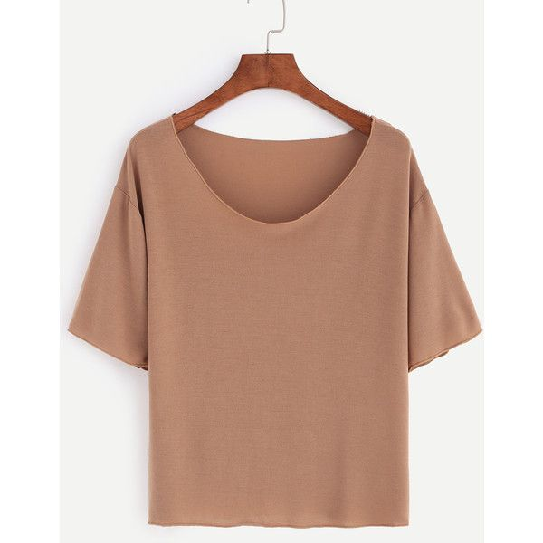 5de6d22b344204 Light Brown Scoop Neck Plain T-shirt (12 BAM) ❤ liked on Polyvore ...