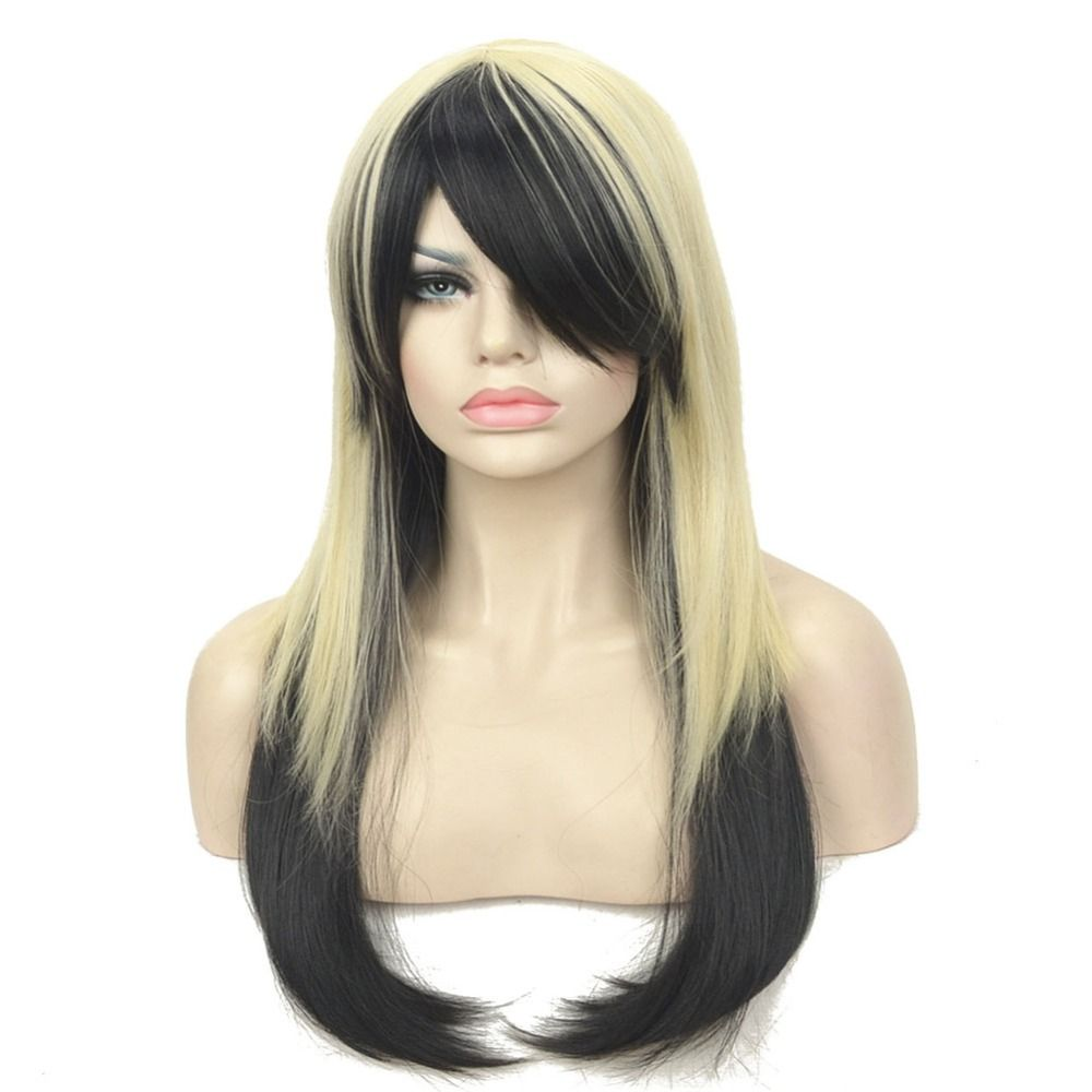 Zyr Cosplay Wigs Blonde Black Mix Long Straight Party Wig Hair