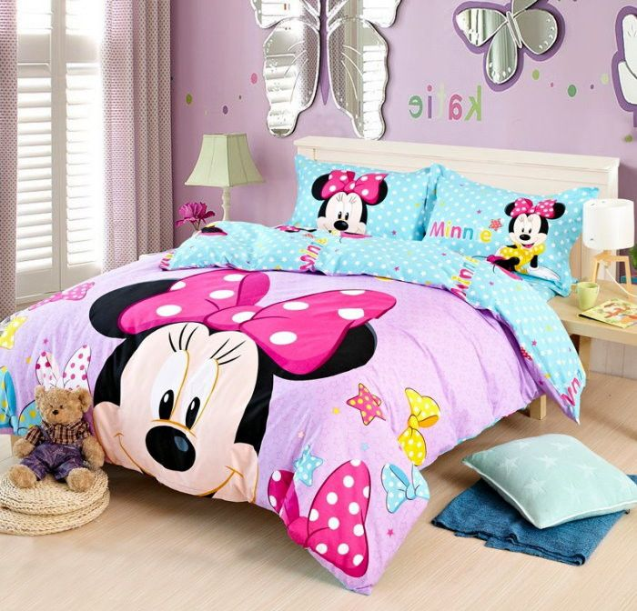 Cotton MINNIE MOUSE DUVET COVER Set Twin//Full//Queen//King Size Bedding Set