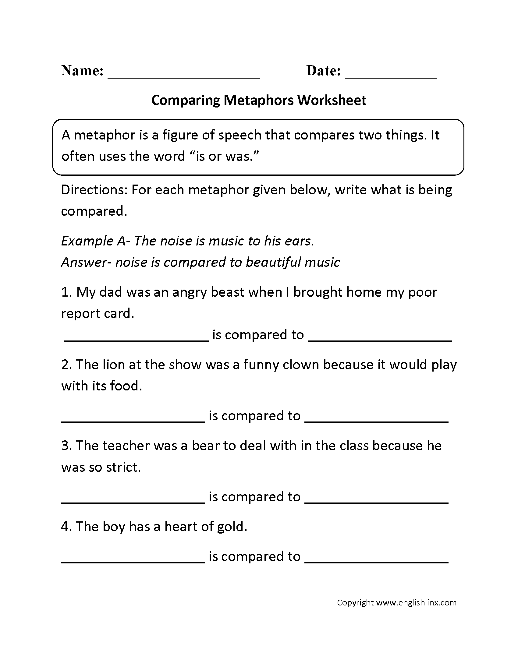Free Metaphor Worksheets Englishlinx