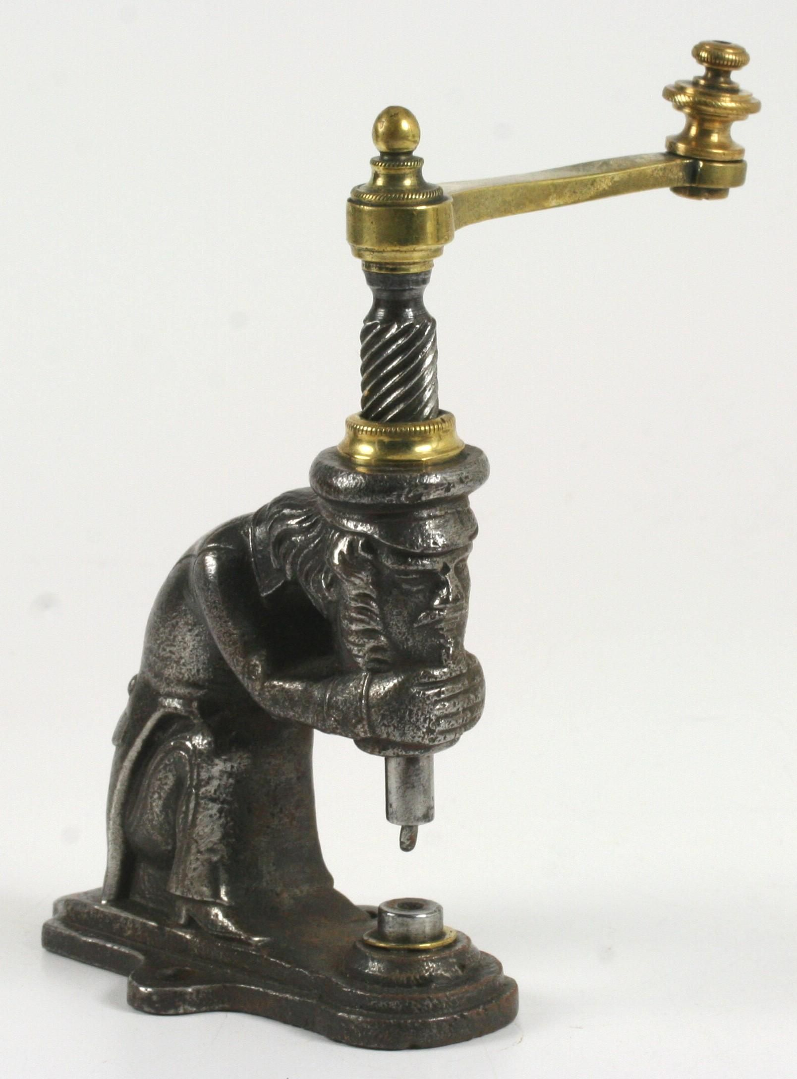 Figural leatherworker s rivet press cast wrought iron