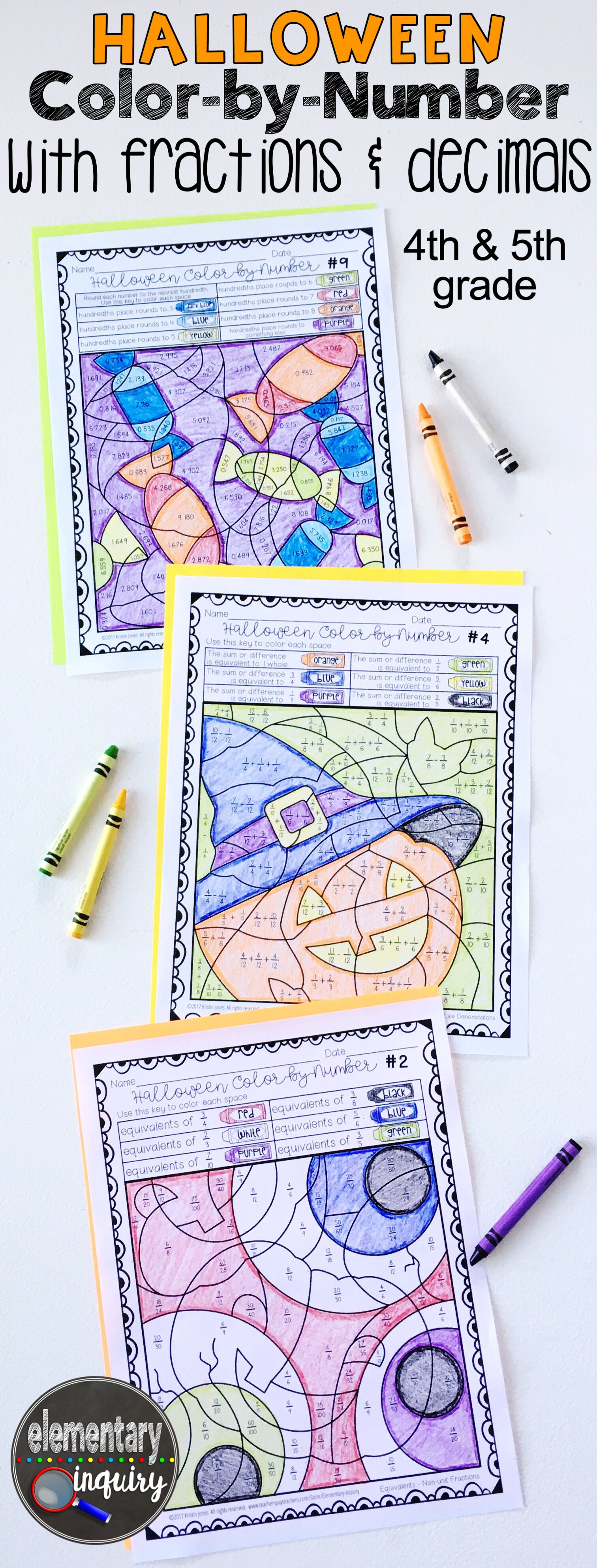 Halloween Fractions And Decimals Color By Number Math
