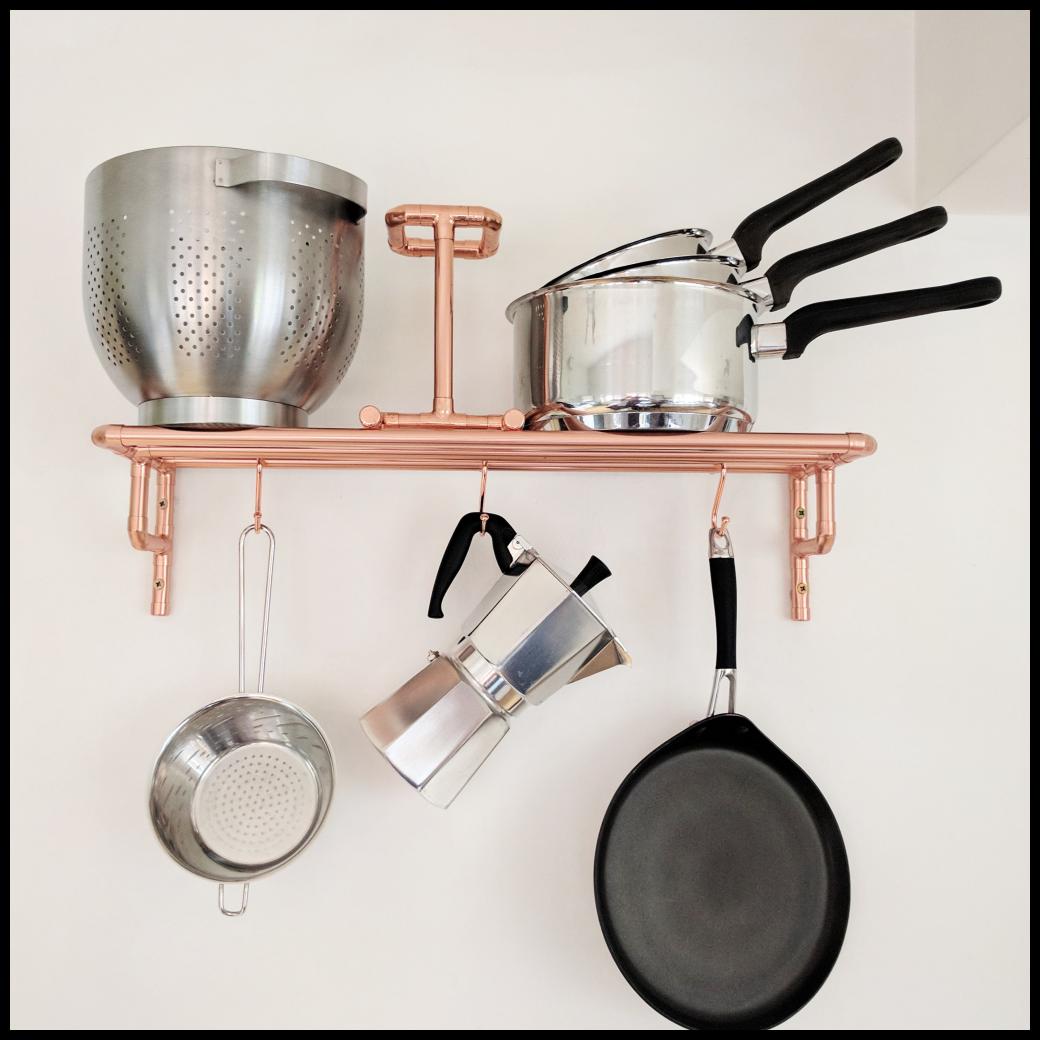 Copper Pot And Pan Rack Copper Pots Pan Rack Kitchen Storage Solutions