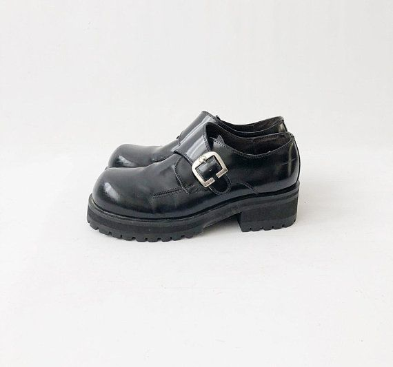 2fcbbc6ac1f3 Vintage 90s Chunky Platform Shoes - Patent Punk Black Leather Buckle  Loafers by BED STU - Goth Grung