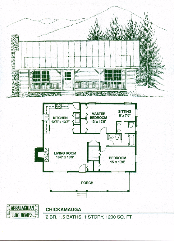 Chickamauga 2 bed 1 5 bath 1 story 1200 sq ft for Square log cabin plans