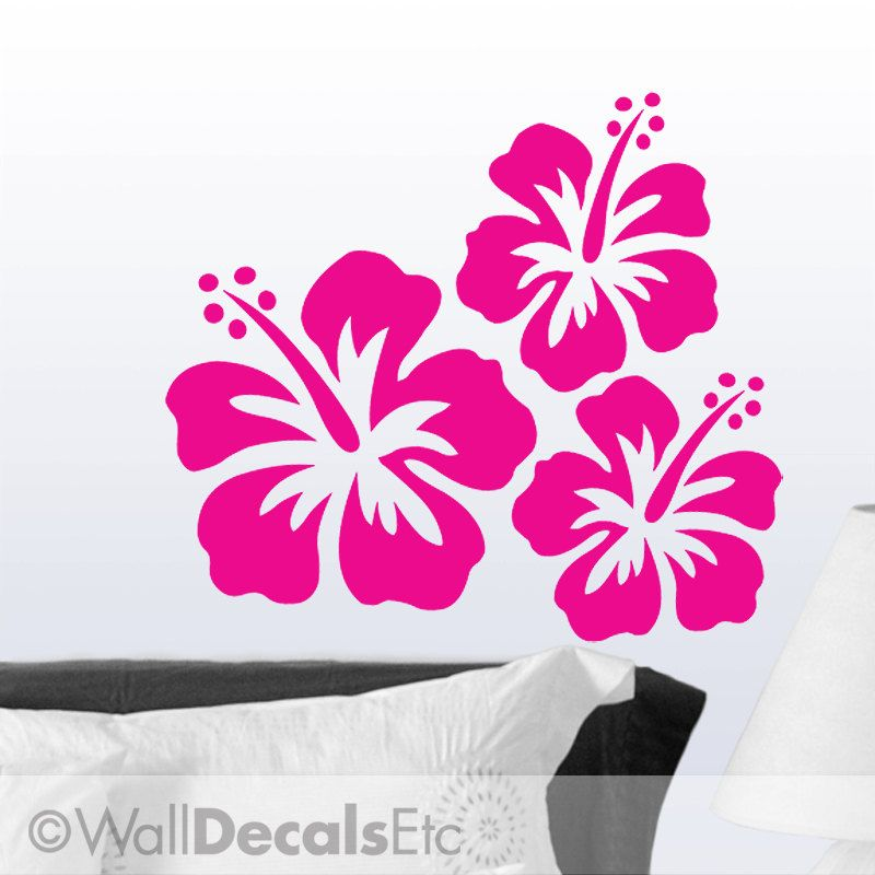 Vinyl Wall Decal Hawaiian Tropical Hibiscus Flowers Set Of  DIY - How to make vinyl wall decals at home