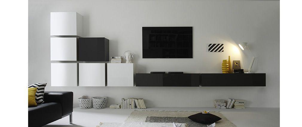 Element Mural Tv Design Laque Gris Anthracite Horizontal Colored V2 Miliboo Meuble Living Meuble Tv Mural Design Meuble Tv
